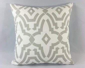 Grey Geometric Pillow Cover - Chevelle French Gray Print - Decorative Pillow Cover - Designer Accent Pillow - Hidden Zipper - Custom Sizes