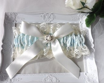 Ivory Lace Garter, Blue Lace garter, Bridal Garter Ivory, Lace Bridal Garter, wedding Garter, Ivory Garter, Ivory Blue Garter, Lace Garter