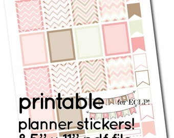 ECLP Printable Chevrons in Pink, Brown, Grey Full Box Stickers  - Boxes, Headers and Flags for Planner