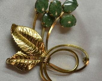Winard jade and 12K gold fill vintage brooch