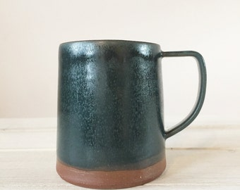 Handmade Mug - Teal Blue - Red Earthenware - Coffee Cup - Teacup