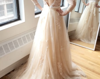 Light Creamy Champagne Long Sleeve Deep V Lace Wedding Dress
