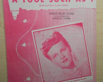 Vintage Sheet Music 'A Fool Such as I'