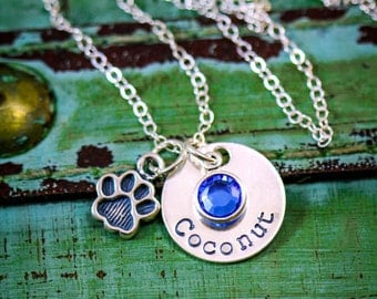 SALE - Pet Memorial Gift - Pet Loss Necklace - Sterling Silver - Personalized Name - Dog Paw - Pawprint - Pet Necklace - Pet Jewelry Gift