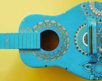 Turquoise and Gold hand-painted guitar