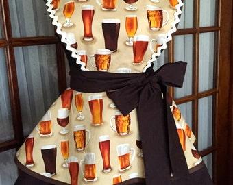 Beer Apron - Cheers Beer Pinup Apron - Oktoberfest Beer Apron - Beer Theme Ladies Full Apron