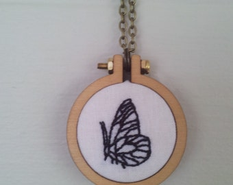 Mini Hoop Necklace with Butterfly Hand Embroidery