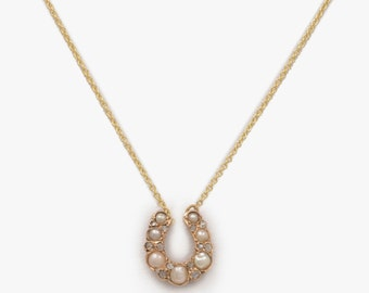 Pearl and Diamond Horseshoe Necklace