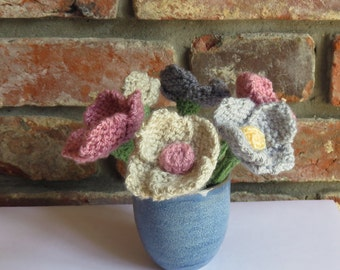 Six Hand Knitted Flowers in Vase