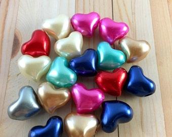 3 Acrylic Heart Beads, Large Hole Beads, Hearts Beads, Big Hole Bead, Jewelry Making, European Charm Beads, Craft Supplies, EB1073