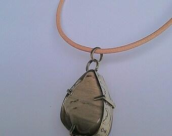 Brown Jasper Stone Necklace, Rustic Jasper, Rustic Jasper Necklace, Brown Necklace, Stone and Leather Necklace, Metal and Stone Pendant,