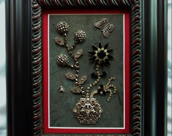 Framed Jewelry Art, Vintage Jewelry Art, Home Decor, Art Collectibles, Costume Jewelry Art, Fanasy Floral Art, Family Heirloom Art