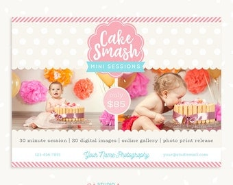 Cake smash template, First birthday, Cake smash marketing, Cake smash mini session template, Photography marketing board, Photoshop PSD