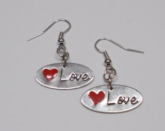 Love Earrings, Love Charm Earrings, Silver Love Charm, Love Charm, Heart Earrings, Love With Heart, Love Heart, Red Heart, Heart Charm