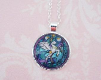 My little pony glass cabochon pendant, Kawaii Necklace, Cute Necklace, Girly pendant, Pink pendant, Princess Celestia