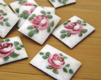 10 Vintage Hand Painted Cab Pink Rose Guilloche Rectangle Cabochon 16mm x 12mm