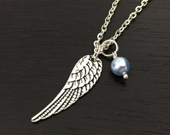 Personalized angel wing necklace, angel wing jewelry, swarovski pearl, remembrance jewelry, silver angel wing metal charm, angel lover gift