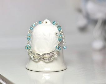 Crystal bracelet   Aqua bracelet   Women's bracelet   Gift for her   Bracelet for her   Beads  bracelet  