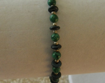 Green & Black Beaded Bracelet