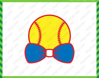 Baseball With Bow Tie Softball Frame SVG DXF PNG eps Sports Cut Files for Cricut Design, Silhouette studio, Sure Cuts A Lot, Makes the cut