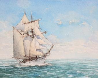 schooner Topsail (watercolor)