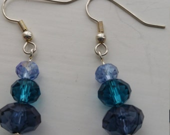 Handmade Earrings with Blue Glass Beads