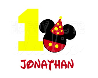 Personalized Birthday Boy Mickey and Minnie Mouse Ears with Age Number Classic Red Yellow Disney Iron On Decal Vinyl for Shirt 026
