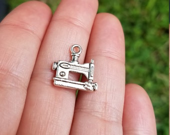 10 pieces Sewing Machine Charm, Silver Tone Sewing Machine Charm, Sewing Charm, Sewing Pendant, B45808H