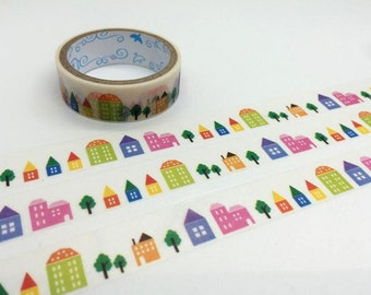 Little houses tape 3M village house colorful houses washi tape cute house little cartoon house deco sticker tape housewarming decor gift