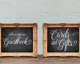 Wedding guestbook and Cards and Gifts signs - Rustic style - PRINTABLE 8x10 - 5x7
