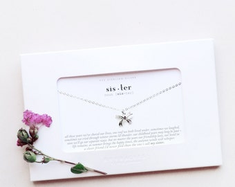 Sister | Sterling Silver Ribbon Bow Knot Tie Necklace Message Card Jewelry Sister Necklace Sister Gift Sister Jewelry Sister Birthday