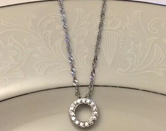 Set of 8 Circle Pendant Necklaces, 8 Austrian Crystal Necklaces, Sterling Silver Crystal Pendants, Bridesmaid Necklace Gift Set