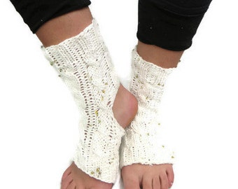 Hand Knit Socks, Knit Yoga Socks, Cotton Socks, Sequined Socks, Athletic Sock, Yoga Gift, Yoga Gear, Foot Warmers