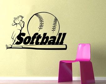Softball Wall Decal Etsy - Vinyl stickers design