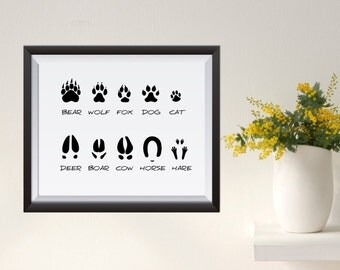 Animal tracks  Illustration WallArt Print digital poster print Instant Download Woodland bear wolf fox deer boar hare dog cat horse cow