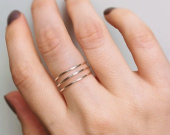 Silver Stackable Ring, Wire ring, Layered rings, Sterling silver ring, Twisted ring, Spiral ring, Silver ring, Adjustable ring