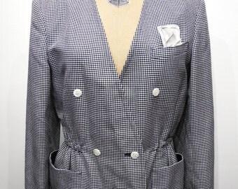 Vintage Houndstooth Dogtooth Peplum Style Jacket