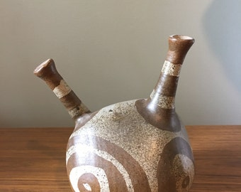 Studio pottery: alien with antennas