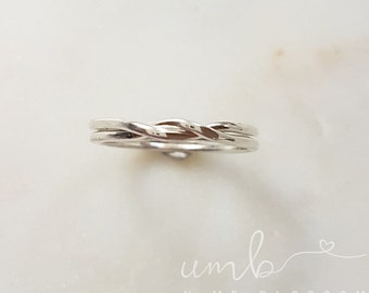 Sterling Silver Two Band Twisted Interlocking/Puzzle Rings UK Size L *Ready to Ship*