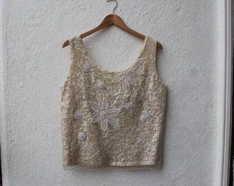 Vintage Cream Beaded Sequinned Knitted Top Sleeveless 1960s Festival