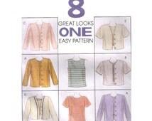 Uncut McCall's 8155, Size Medium 12-14, 90s Sewing Pattern, Women's Cardigan Button Down Sweater, Short Sleeve Shirt, Women Tank Top Summer