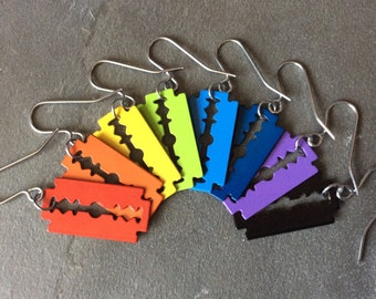 Coloured Razor Blade Earrings