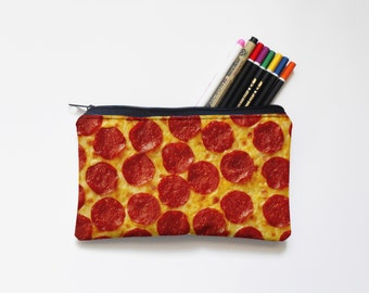 pizza Zipper Pouch, Pencil Pouch, Pencil Case,