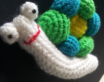 snail amigurumi flower smile balls crocheted