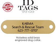 Personalized Noise Free ID Tags for Dogs. Silent Hunter Collar Pet ID Tag. Durable Solid Brass with Custom Engraving.