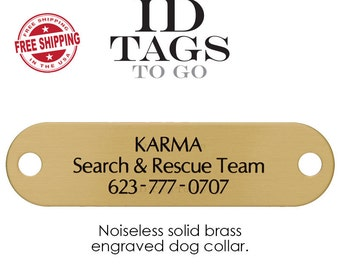 Personalized Noise Free Slide on ID Tags for Dogs. Silent Hunter Collar Pet ID Tag. Durable Solid Brass with Custom Engraving. ID Tags to Go