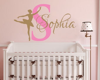 Ballerina Wall Decal Girl Name Dancing Nursery Ballet Dance Vinyl Decals Sticker Custom Decals Personalized Girls