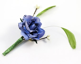 Groom Boutonniere - Corsage - Purple Lilac SheetMusic Rose and Feathers
