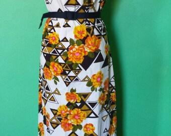 1960s Barkcloth Hawaiian Maxi Dress