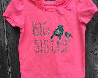 Big sister toddler shirt, silver glitter big sister shirt, big sister teal glitter shirt, baby bird big sister shirt, pink big sister shirt